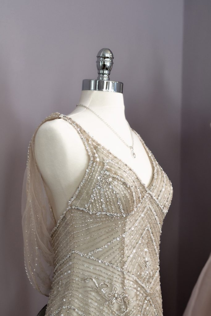 beautiful, highly detailed, hand crafted beaded wedding dress