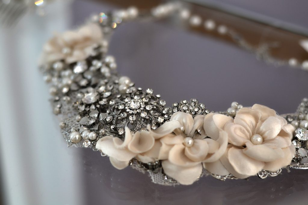 detailed bridal accessories line the rooms of Lidia's Brides